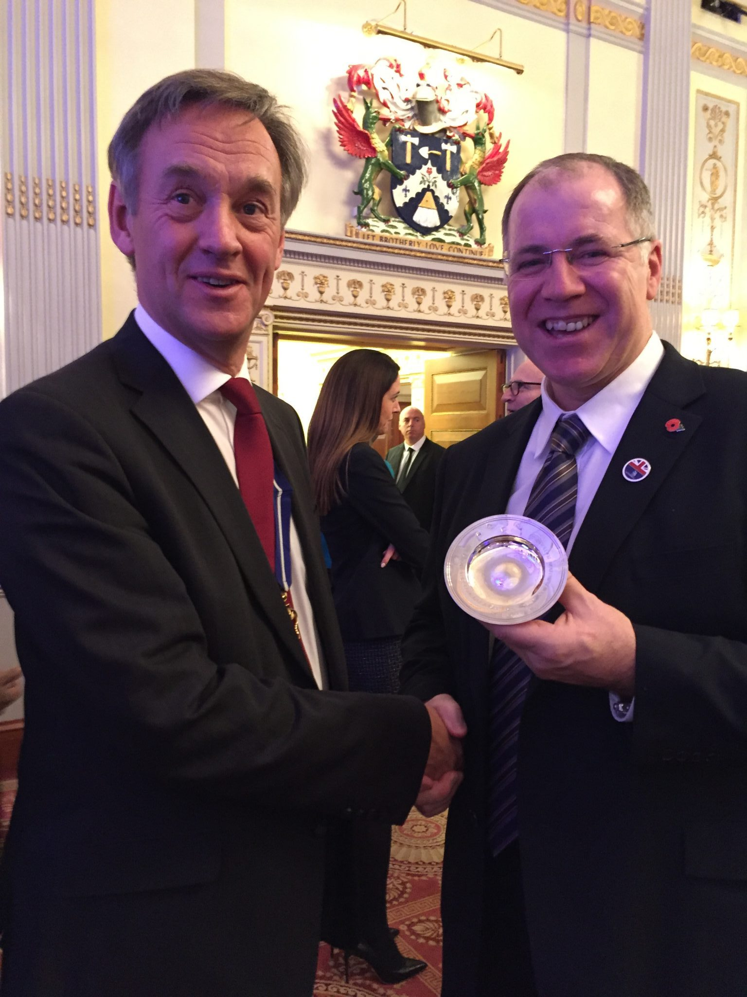 Timothy Cooke OBE, The Worshipful Company of Plaisterers congratulates David Hall