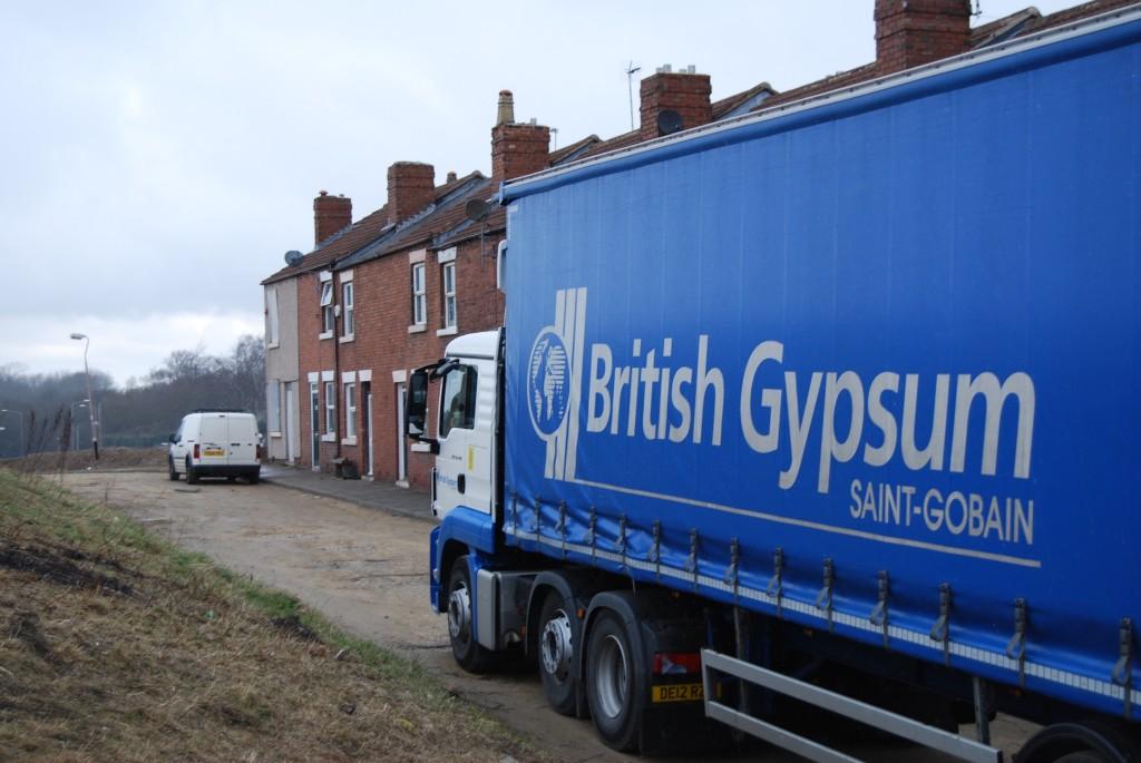 British Gypsum lorry delivering supplies