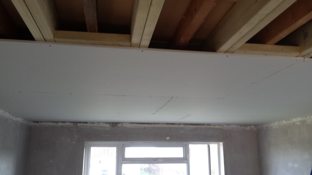Plasterboarding a ceiling