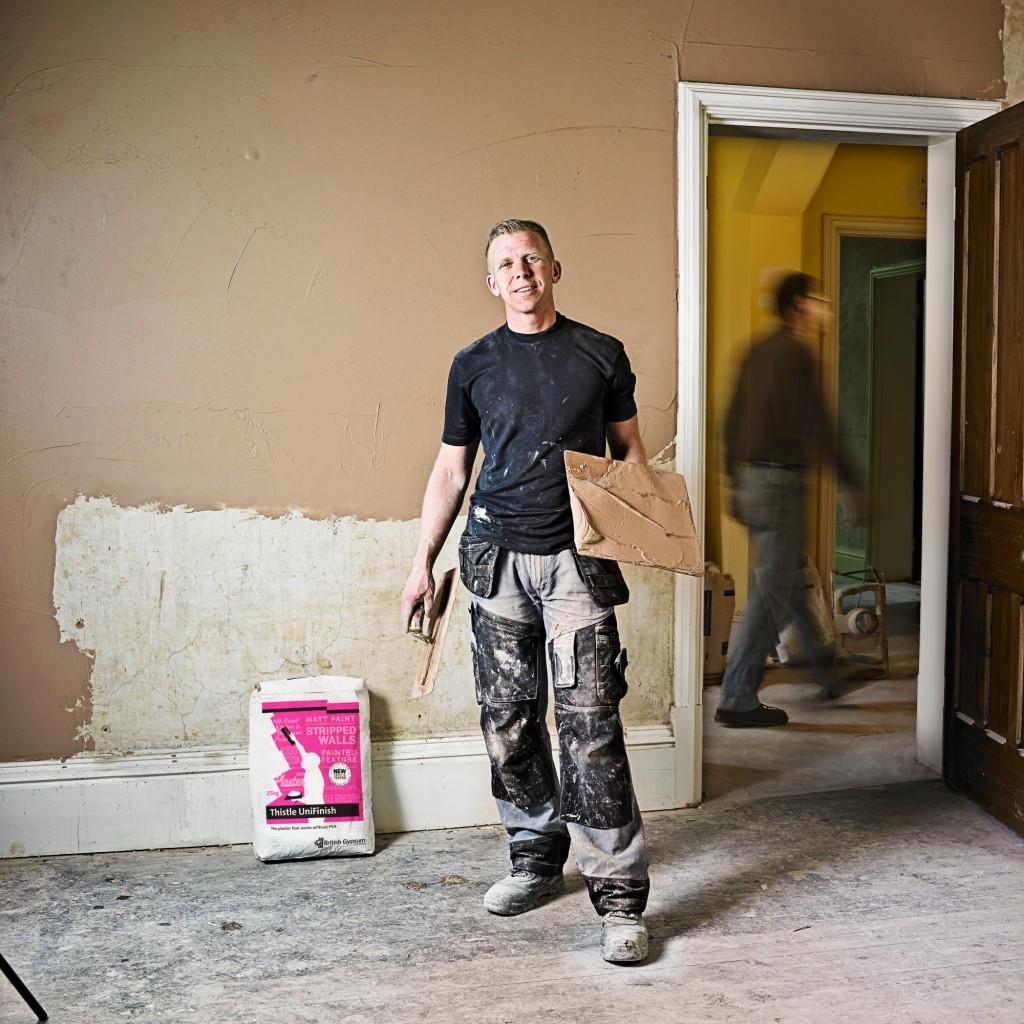 Pete plasterer using UniFinish