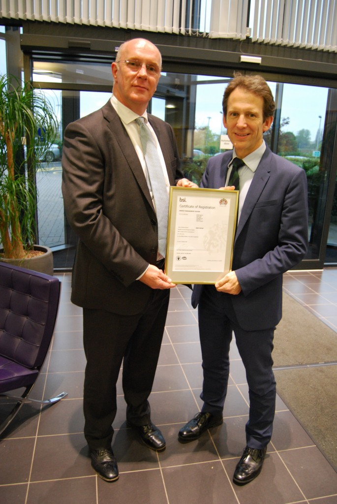 Managing Director, Mike Chaldecott, receiving the ISO 50001 certification