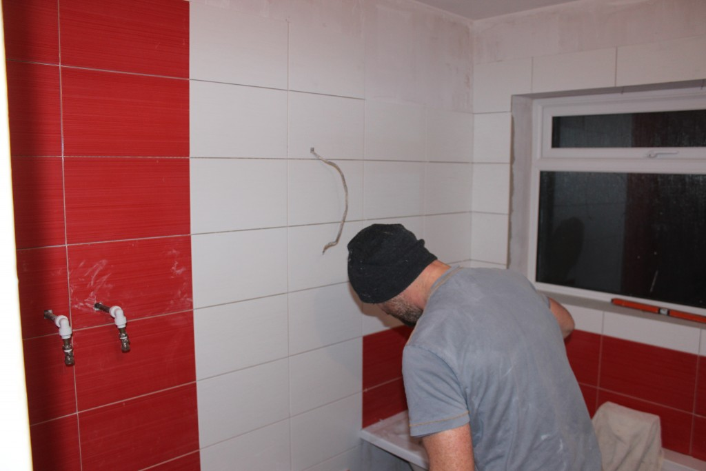 Bright Red Bathroom Tiles