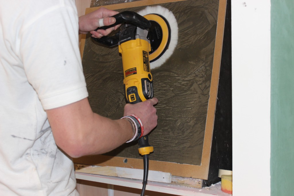 Polishing Venetian Plaster with a mop