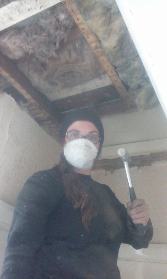 Jess bringing down a ceiling (1)