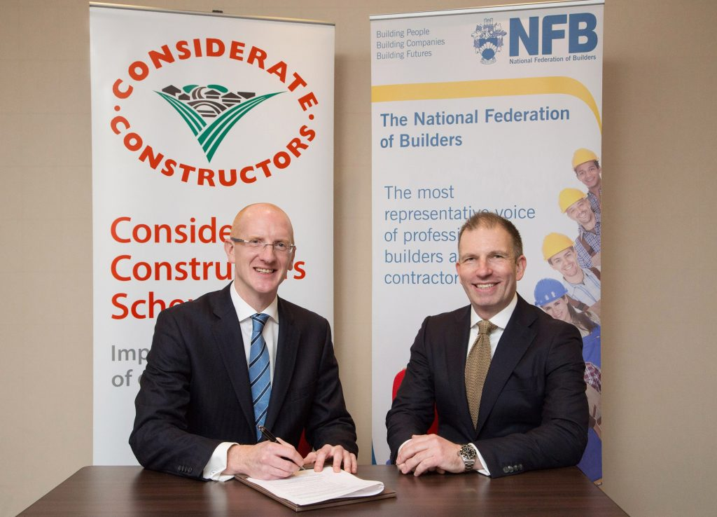 """Real industry collaboration to offer members greater benefits     London, United Kingdom, 21 November 2016: The Considerate Constructors Scheme - the national scheme established by the construction industry to improve its image - and the National Federation of Builders (NFB) – the construction industry's longest established trade association - have formed a partnership to promote best practice and raise standards across construction industry SMEs.     This first, truly ground-breaking collaboration between two construction industry organisations heralds a new way in which like-minded organisations can work effectively together to offer greater benefits to members, at no additional cost.      The partnership will provide NFB members, with a turnover banding of £500,000 to £3.5 million, free Company Registration with the Considerate Constructors Scheme. It will come in to effect from 1 January 2017.      By becoming a registered company, NFB members (in this banding) will have the opportunity to demonstrate their commitment to improving the image of the industry. Scheme-registered companies voluntarily agree to abide by its Code of Considerate Practice. The Code commits those registered with the Scheme to care about appearance, respect the community, protect the environment, secure everyone's safety and value their workforce.     Considerate Constructors Scheme Chief Executive Edward Hardy said: """"SMEs are a critical part of the construction industry's future success. They have a huge role and responsibility to continually raise their standards and, in doing so, make a valued contribution to improving the image of the industry.     """"The NFB provides a great platform for the Considerate Constructors Scheme to help support SMEs in championing the principles of considerate construction. We are therefore delighted to establish this partnership with the NFB.""""      Richard Beresford, Chief Executive of the NFB said: """"We're delighted to join forces with the Considerate Constr"""